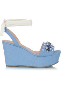 Luiza Barcelos Sandália Plataforma Jeans - Azul