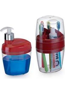 Conjunto Para Banheiro Belle Com 2 Peças Vermelho
