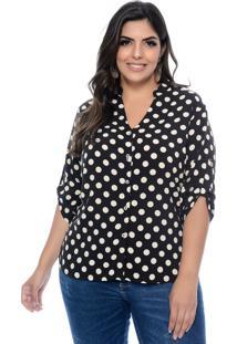 Camisa Prelúdio Plus Size Kenya Preto