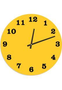 Relógio De Parede Premium Amarelo Com Números Em Relevo Preto Ônix 50Cm Grande