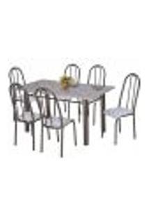 Conjunto De Mesa Com 6 Cadeiras Primavera Preto E Capitonê