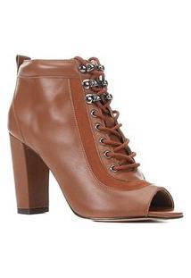 Ankle Boot Couro Shoestock Hiking Salto Alto Feminina