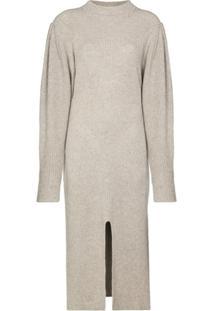 Isabel Marant Vestido Midi Com Fenda Frontal - Neutro