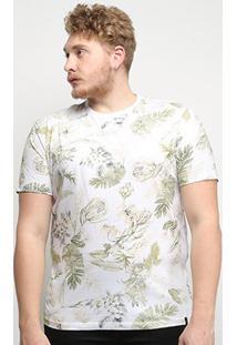 Camiseta All Free Folhagem Plus Size Masculina - Masculino-Branco