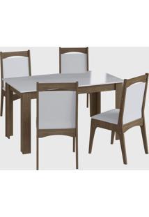 Conjunto Mesa Fixa 4 Cadeiras Ameixa Negra Móveis Cançáo - Tricae