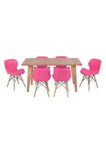 Conjunto Mesa De Jantar Em Madeira 150X80 Vértice + 6 Cadeiras Slim - Rosa