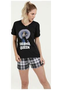 Pijama Feminino Estampa Rainha Má Manga Curta Disney