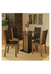 Conjunto Sala De Jantar Madesa Aline Mesa Tampo De Vidro Com 4 Cadeiras - Rustic/Preto Preto