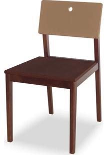 Cadeira Flip Cor Cacau Com Encosto Marrom Claro - 31128
