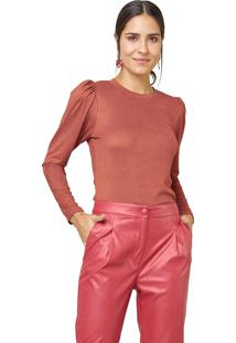 Blusa Mx Fashion De Suede Canelada Roberta Chocolate - Tricae