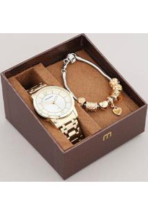 Kit De Relógio Analógico Mondaine Feminino + Pulseira - 99126Lpmvde1Kb Dourado - Único