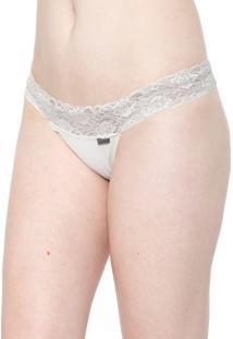 Calcinha Calvin Klein Underwear Tanga Renda Off-White