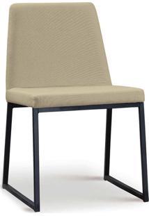 Cadeira Yanka Aço Preto Linho Bege Daf