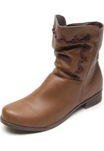 Bota Dafiti Shoes Cano Curto Bordado Marrom