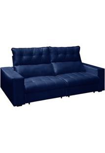 Sofá Retrátil E Reclinável 250Cm 4 Lugares Bogotá H04 Suede Azul - Mpo