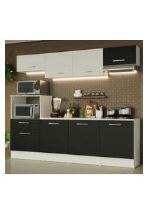 Cozinha Completa Madesa Onix 240002 Com Armário E Balcáo - Branco/Preto 0977 Branco