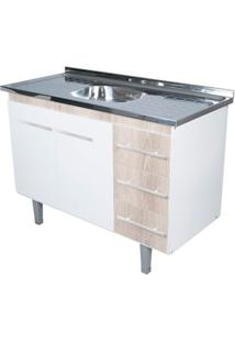 Gabinete De Cozinha Lyon 53X114,4Cm Branco E Madeirado Bonatto
