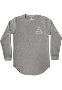 Camiseta Longline Stoned Manga Longa Triple Triangle Masculina - Masculino-Cinza