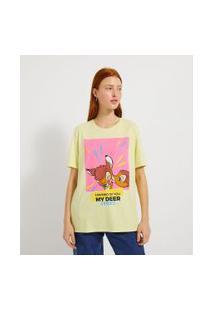 Blusa Alongada Manga Curta Estampa Bambi Kisses   Blue Steel   Amarelo   P