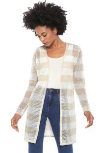Cardigan Dress To Tricot Ponto Tela Off-White/Bege