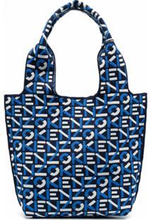 Kenzo Knitted Logo-Pattern Tote Bag - Azul