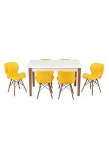 Conjunto Mesa De Jantar Luiza 135Cm Branca Com 6 Cadeiras Slim - Amarelo