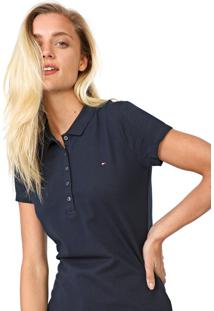 Camisa Polo Tommy Hilfiger New Chiara Azul-Marinho