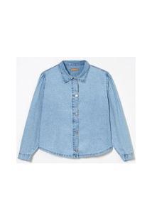 Camisa Jeans Com Mangas Bufante Curve & Plus Size Azul