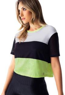 Blusa Cropped Com Tela - Preta & Verde - Vestemvestem