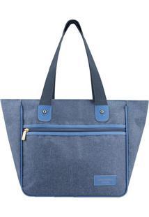 Bolsa Shopper Com Recortes- Azul & Azul Claro- 28,5Xjacki Design