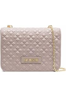 Love Moschino Logo Quilted Shoulder Bag - Cinza