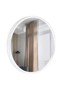 Espelho Decorativo Round Externo Branco 50 Cm De Redondo
