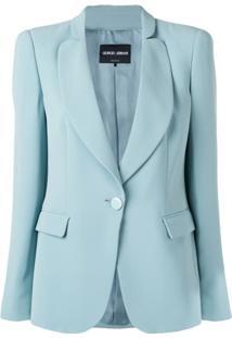 Giorgio Armani One-Button Fitted Silk Blazer - Azul