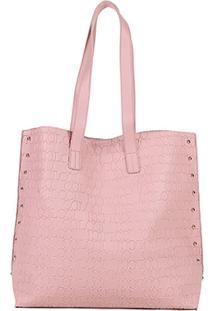 Bolsa Colcci Shopper Croco Tachas Feminina - Feminino-Rosa