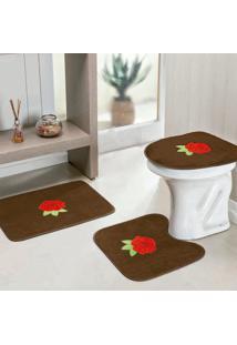 Jogo Banheiro Dourados Enxovais Standard Rosas 3 Peças Cafe
