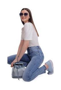 Calça Zinco High Waist Cós Alto Barra Desmanchada Jeans