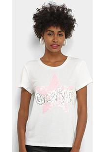 Camiseta Facinelli Golden Star Paetês Feminina - Feminino-Branco