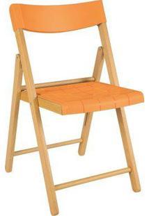 Cadeira Potenza De Madeira Tauarí Envernizada E Plástico Laranja 2 Unidades - Tramontina