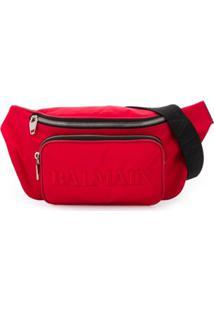 Balmain Pochete Com Logo Bordado - Vermelho