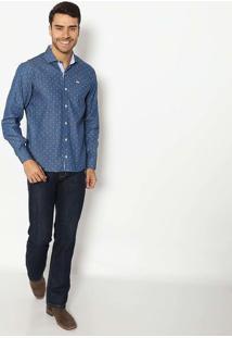Camisa Jeans Slim Com Bordado - Azul & Brancajavali