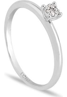 Anel Solitário Em Ouro Branco 18K Com Diamante 10 Pontos
