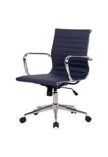 Cadeira Sevilha Eames Baixa Pu Azul Escuro Base Cromada 98Cm - 62974 Azul
