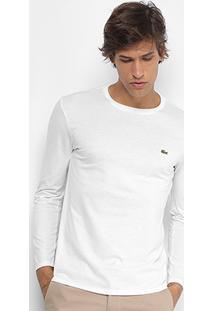 Camiseta Lacoste Básica Manga Longa Masculina - Masculino-Branco