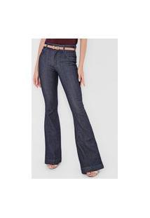 Calça Jeans Colcci Flare Textura Azul-Marinho