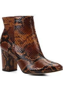 Bota Couro Cano Curto Shoestock Snake Feminina - Feminino-Caramelo