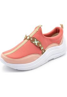 Tênis Ellas Online Casual Com Detalhes Pink