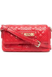 Love Moschino Bolsa Transversal Matelassê Com Placa De Logo - Vermelho
