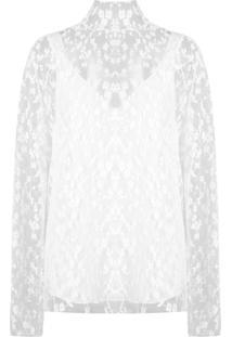 Chloé Blusa Translúcida Floral - Branco