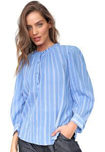 Blusa Gap Listrada Azul - Azul - Feminino - Algodã£O - Dafiti