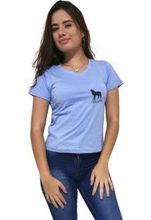 Camiseta Feminina Gola V Cellos Howled Premium Azul Claro - Kanui